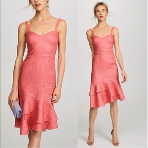 Milly Coral Bustier Tiered Midi Linen Dress